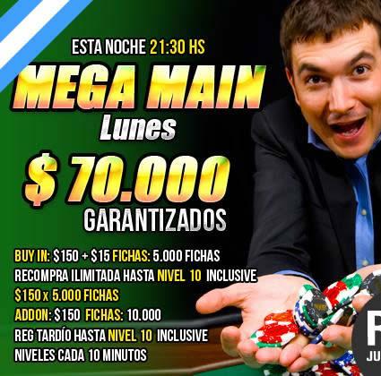 Mega Main de $70.000 garantizados este Lunes en Pokerlogia
